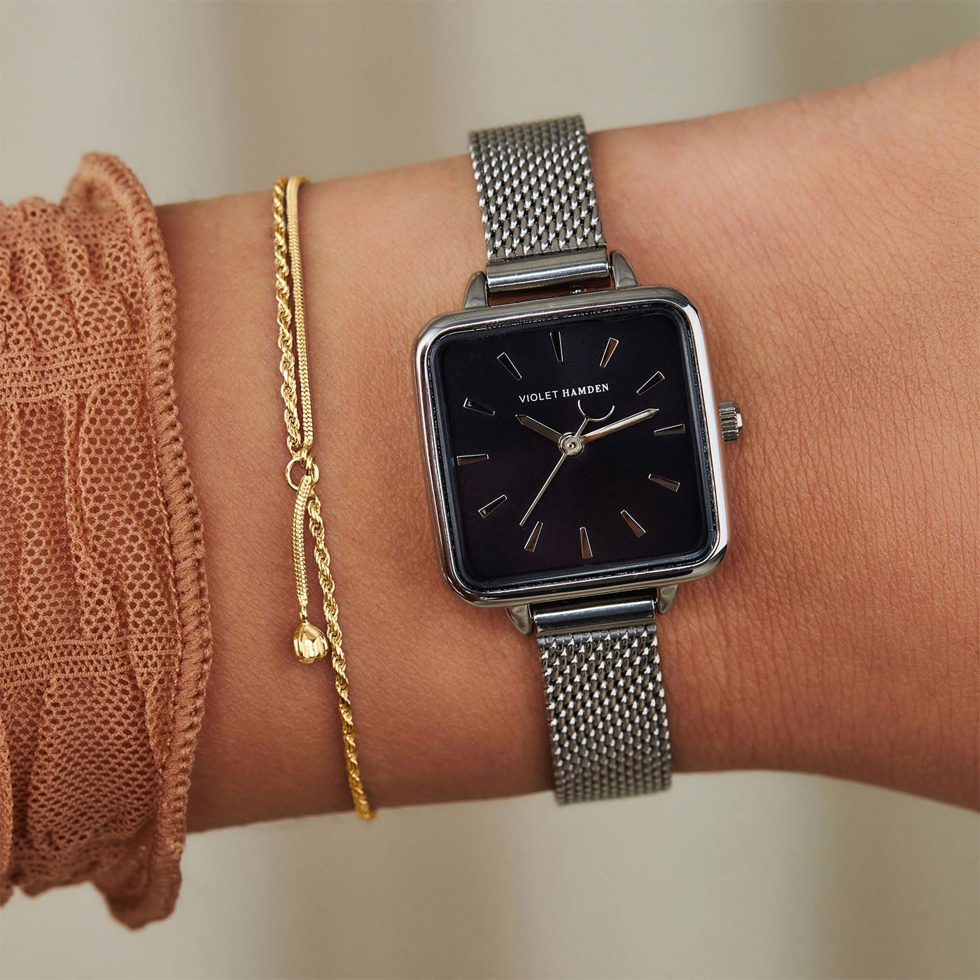 Violet Hamden Sisterhood Luni solar 925 Sterling Zilveren Goudkleurige Armband VH12028 (Lengte: 15.00-19.50 cm)