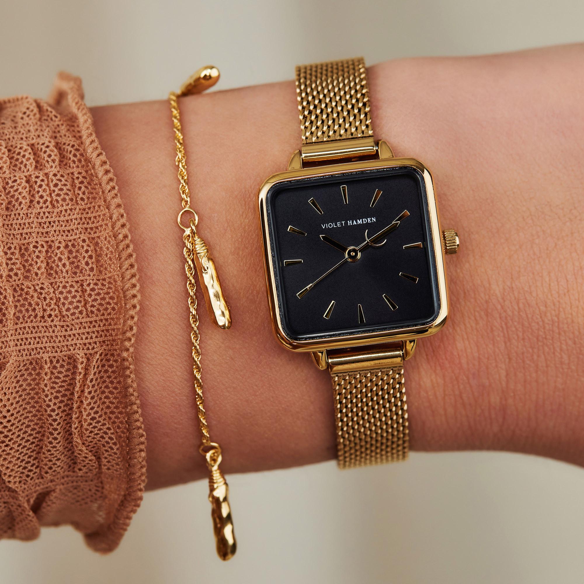Violet Hamden Dawn Gold Colored/Black horloge VH05012 (24 mm)