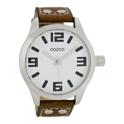 OOZOO Timepieces horloge Cognac/Wit C1051 (46 mm)