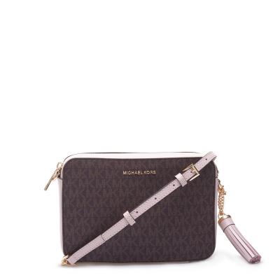Michael Kors Medium Camera Bag Brown Soft Pink Crossbody 32F8GF5M2B-266