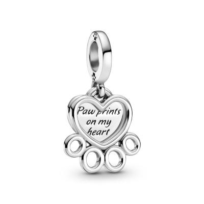 Pandora Passions 925 Sterling Zilveren Hearts & Paw Print Dangle Bedel 799360C00