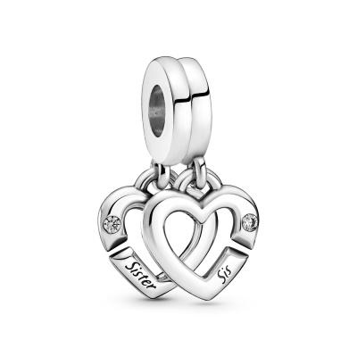 Pandora People Linked Sister Hearts Split Bedel 799538C01