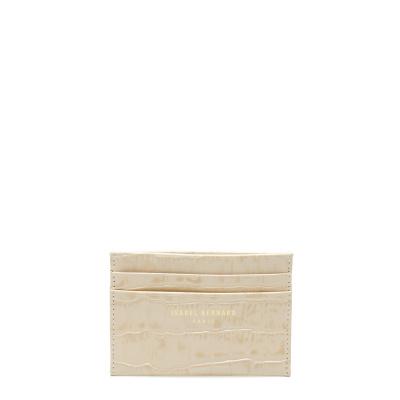 Isabel Bernard Honoré Eve porte-cartes en cuir de veau beige croco IB27010