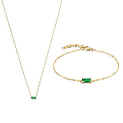 Cadeau d'Isabel 14 karaat baguette gouden collier en armband giftset