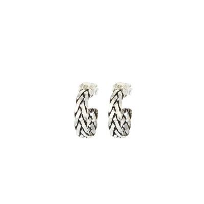 Karma Argent Sterling 925 Symbols XL Braid Hoops Boucles d'oreilles M1100