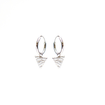 Karma Argent Sterling 925 Hoops Symbols Triangle Woodprint Boucles d'oreilles M2027