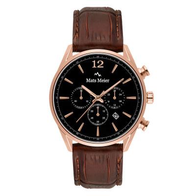 Mats Meier Grand Cornier Chrono Zwart/Bruin horloge MM00101