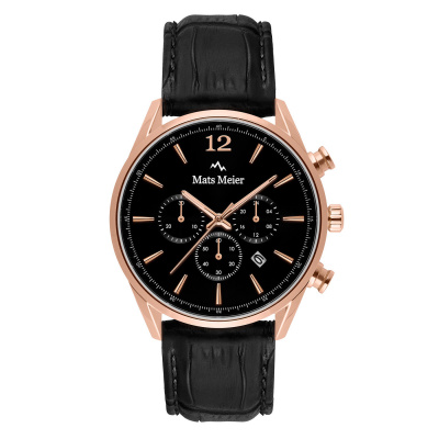 Mats Meier Grand Cornier chronographe noir / couleur or rose MM00129