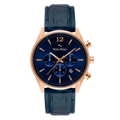 Mats Meier Grand Cornier chronographe bleu / couleur or rose MM00131