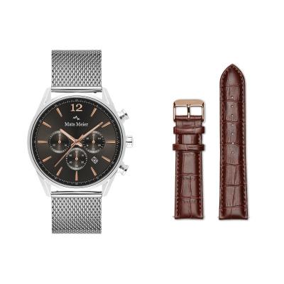 Mats Meier Grand Cornier Chronograaf Herenhorloge Zilverkleurig met Horlogeband Giftset MM90009