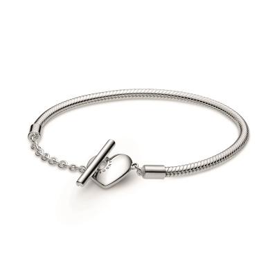 Pandora Icons 925 Sterling Zilveren Engravable Heart T-Bar Snake Chain Bracelet 599285C00